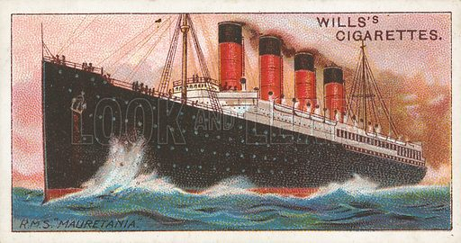 "R.M.S. ""Mauretania"". Illustration for Wills's Celebrated Ships cigarette card series (early 20th century)."