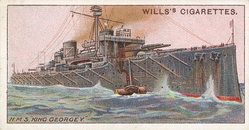 """H.M.S. """"King Georgey"""". Illustration for Wills's Celebrated Ships cigarette card series (early 20th century)."""