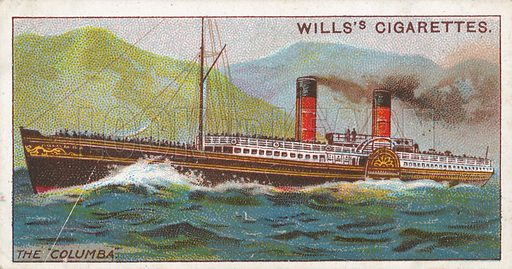 """The """"Columba"""". Illustration for Wills's Celebrated Ships cigarette card series (early 20th century)."""
