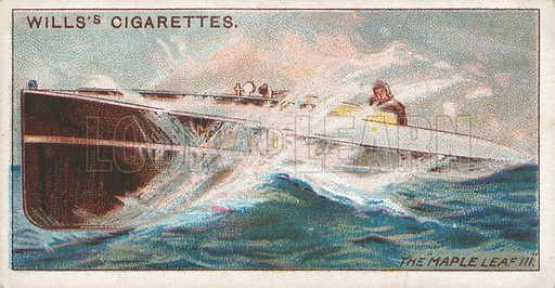"""The """"Maple Leaf III"""". Illustration for Wills's Celebrated Ships cigarette card series (early 20th century)."""
