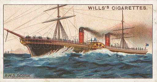 "R.M.S. ""Scotia"". Illustration for Wills's Celebrated Ships cigarette card series (early 20th century)."