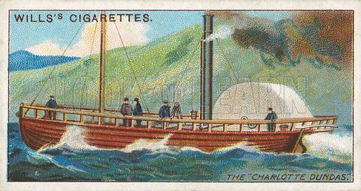 """The """"Charlotte Dundas"""". Illustration for Wills's Celebrated Ships cigarette card series (early 20th century)."""