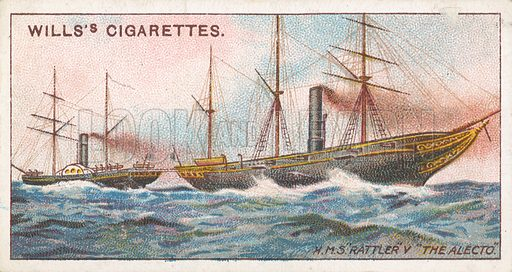 "H.M.S. ""Rattler"" V ""The Alecto"". Illustration for Wills's Celebrated Ships cigarette card series (early 20th century)."