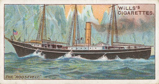 "The ""Roosevelt"". Illustration for Wills's Celebrated Ships cigarette card series (early 20th century)."