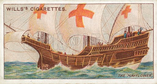 "The ""Mayflower"". Illustration for Wills's Celebrated Ships cigarette card series (early 20th century)."