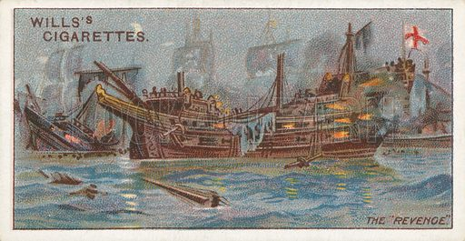 "The ""Revenge"". Illustration for Wills's Celebrated Ships cigarette card series (early 20th century)."