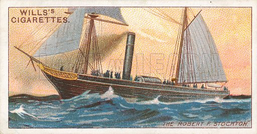 "The ""Robert F. Stockton"". Illustration for Wills's Celebrated Ships cigarette card series (early 20th century)."