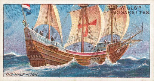 "The ""Half Moon"". Illustration for Wills's Celebrated Ships cigarette card series (early 20th century)."