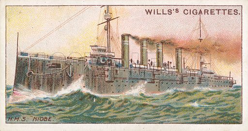 "H.M.S. ""Niobe"". Illustration for Wills's Celebrated Ships cigarette card series (early 20th century)."