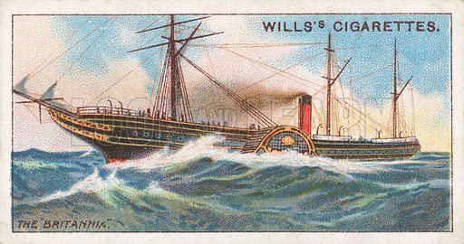 """The """"Britannia"""". Illustration for Wills's Celebrated Ships cigarette card series (early 20th century)."""