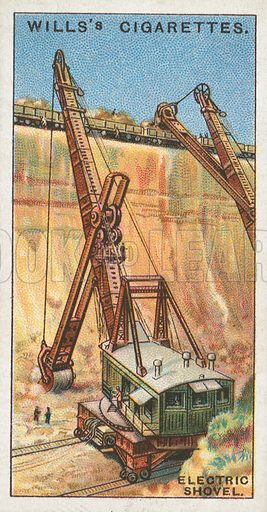 Electric Shovel. Illustration for Wills's Engineering Wonders cigarette card series (early 20th century).