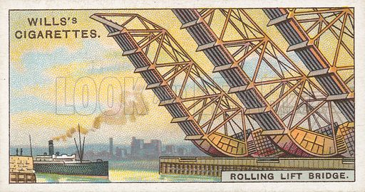 Rolling Lift Bridge. Illustration for Wills's Engineering Wonders cigarette card series (early 20th century).