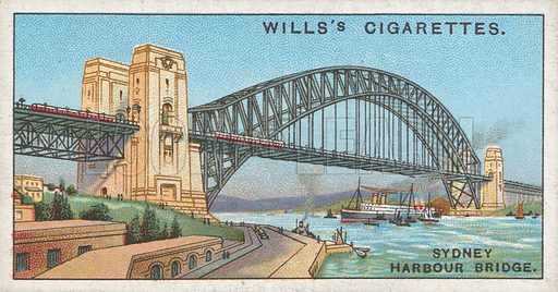 Sydney Harbour Bridge. Illustration for Wills's Engineering Wonders cigarette card series (early 20th century).
