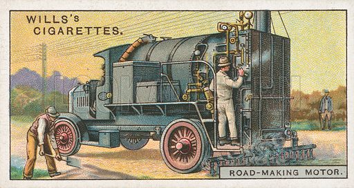 Road-Making Motor. Illustration for Wills's Engineering Wonders cigarette card series (early 20th century).