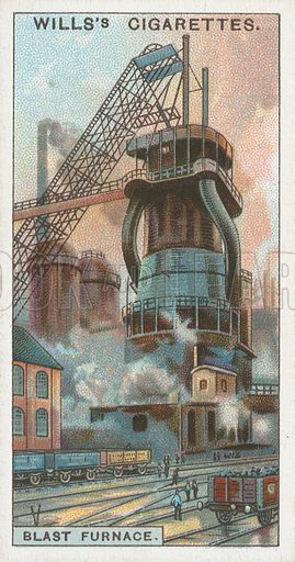 Blast Furnace. Illustration for Wills's Engineering Wonders cigarette card series (early 20th century).
