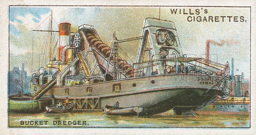 Bucket Dredger. Illustration for Wills's Engineering Wonders cigarette card series (early 20th century).