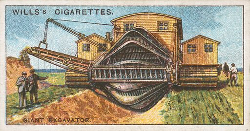 Giant Excavator. Illustration for Wills's Engineering Wonders cigarette card series (early 20th century).