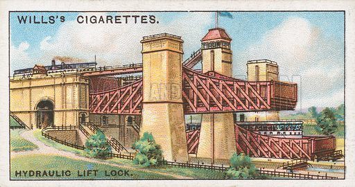 Hydraulic Lift Lock. Illustration for Wills's Engineering Wonders cigarette card series (early 20th century).