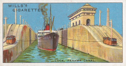 Lock, Panama Canal. Illustration for Wills's Engineering Wonders cigarette card series (early 20th century).