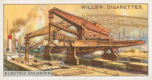 Electric Unloader. Illustration for Wills's Engineering Wonders cigarette card series (early 20th century).