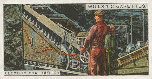 Electric Coal-Cutter. Illustration for Wills's Engineering Wonders cigarette card series (early 20th century).