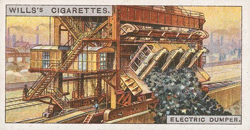 Electric Dumper. Illustration for Wills's Engineering Wonders cigarette card series (early 20th century).