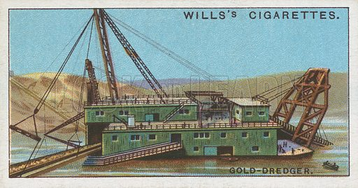 Gold-Dredger. Illustration for Wills's Engineering Wonders cigarette card series (early 20th century).
