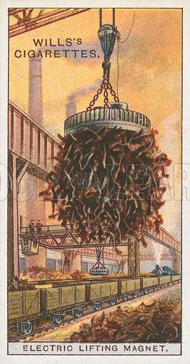 Electric Lifting Magnet. Illustration for Wills's Engineering Wonders cigarette card series (early 20th century).