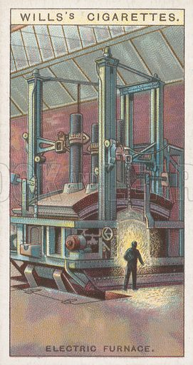 Electric Furnace. Illustration for Wills's Engineering Wonders cigarette card series (early 20th century).