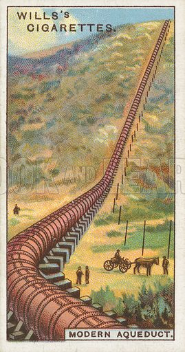 Modern Aqueduct. Illustration for Wills's Engineering Wonders cigarette card series (early 20th century).
