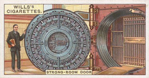 Strong-Room Door. Illustration for Wills's Engineering Wonders cigarette card series (early 20th century).