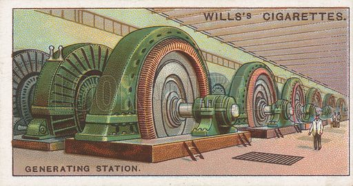 Generating Station. Illustration for Wills's Engineering Wonders cigarette card series (early 20th century).