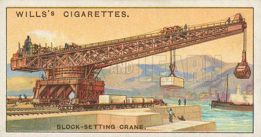 Block-Setting Crane. Illustration for Wills's Engineering Wonders cigarette card series (early 20th century).