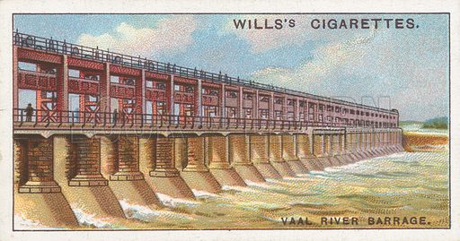 Vaal River Barrage. Illustration for Wills's Engineering Wonders cigarette card series (early 20th century).