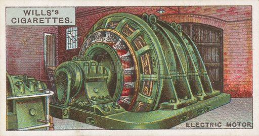 Electric Motor. Illustration for Wills's Engineering Wonders cigarette card series (early 20th century).