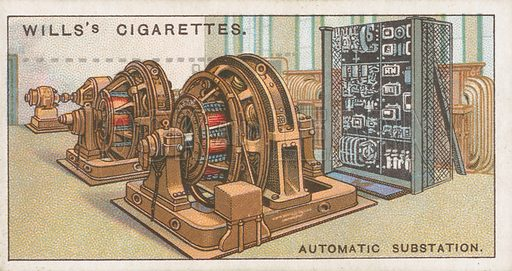 Automatic Substation. Illustration for Wills's Engineering Wonders cigarette card series (early 20th century).