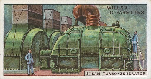 Steam Turbo-Generator. Illustration for Wills's Engineering Wonders cigarette card series (early 20th century).