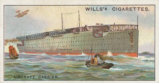 Aircraft Carrier. Illustration for Wills's Engineering Wonders cigarette card series (early 20th century).