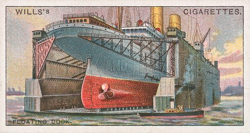 Floating Dock. Illustration for Wills's Engineering Wonders cigarette card series (early 20th century).