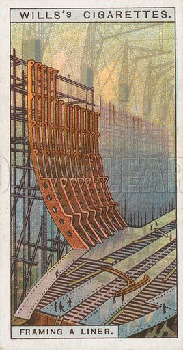 Framing a Liner. Illustration for Wills's Engineering Wonders cigarette card series (early 20th century).