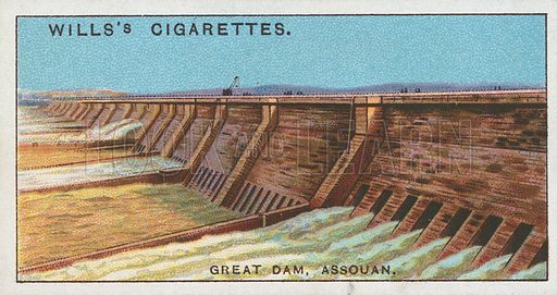 Great Dam, Assouan. Illustration for Wills's Engineering Wonders cigarette card series (early 20th century).