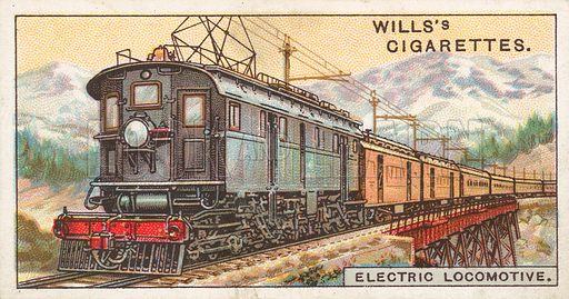 Electric Locomotive. Illustration for Wills's Engineering Wonders cigarette card series (early 20th century).
