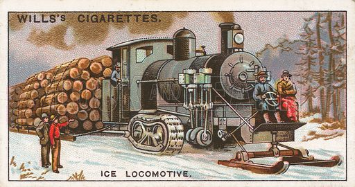 Ice Locomotive. Illustration for Wills's Engineering Wonders cigarette card series (early 20th century).