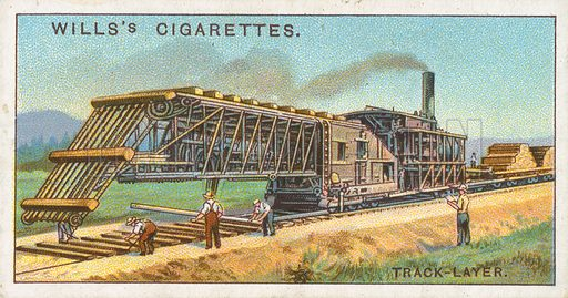 Track-Layer. Illustration for Wills's Engineering Wonders cigarette card series (early 20th century).