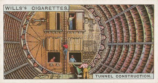 Tunnel Construction. Illustration for Wills's Engineering Wonders cigarette card series (early 20th century).