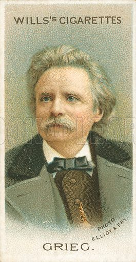 Grieg. Illustration for Wills's Musical Celebrities cigarette card series (early 20th century).