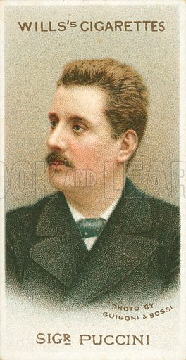 Sigr Puccini. Illustration for Wills's Musical Celebrities cigarette card series (early 20th century).