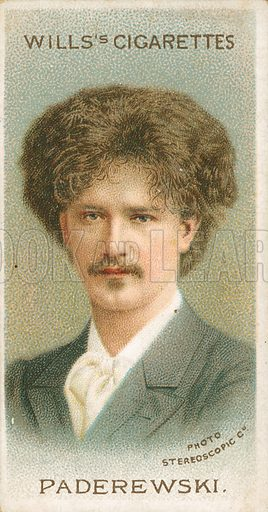 Paderewski. Illustration for Wills's Musical Celebrities cigarette card series (early 20th century).