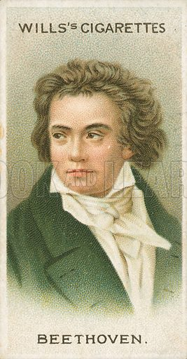 Beethoven. Illustration for Wills's Musical Celebrities cigarette card series (early 20th century).