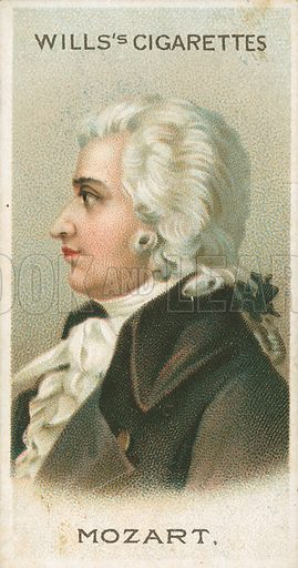 Mozart. Illustration for Wills's Musical Celebrities cigarette card series (early 20th century).